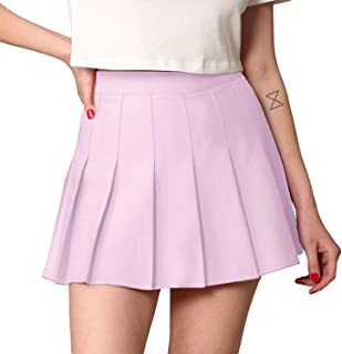 Womens' Girls' High Waist Mini Plaid School Uniform...
