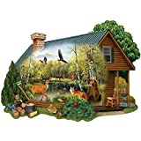Bits and Pieces - 300 Piece Shaped Jigsaw Puzzle for Adults - Cabin in the Wild - 300 pc Forest Animals Jigsaw by Artist Thomas Wood