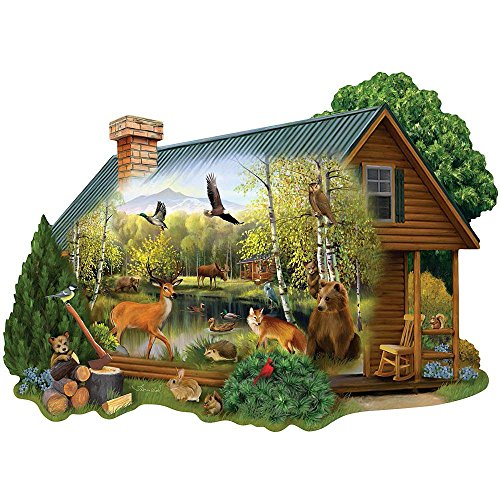 Bits and Pieces - 750 Piece Shaped Jigsaw Puzzle for Adults - Cabin in The Wild - 750 pc Forest Animals Jigsaw by Artist Thomas Wood