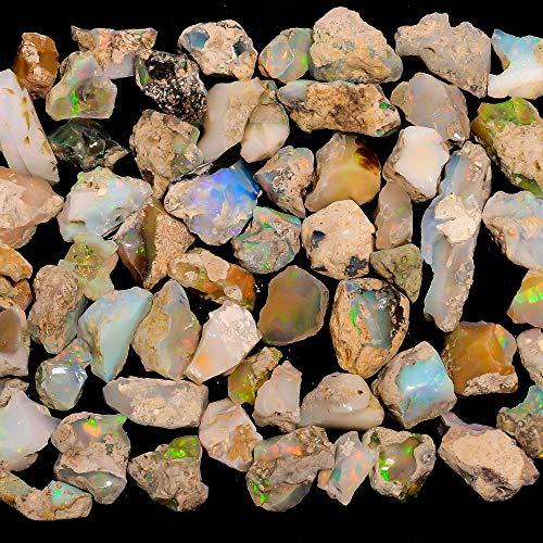 gemkora Opale di Fuoco Ultra 25 Carati, Opale Etiope Naturale, Gemma Grezza, Cristalli Grezzi, Cristalli di Guarigione Energetica