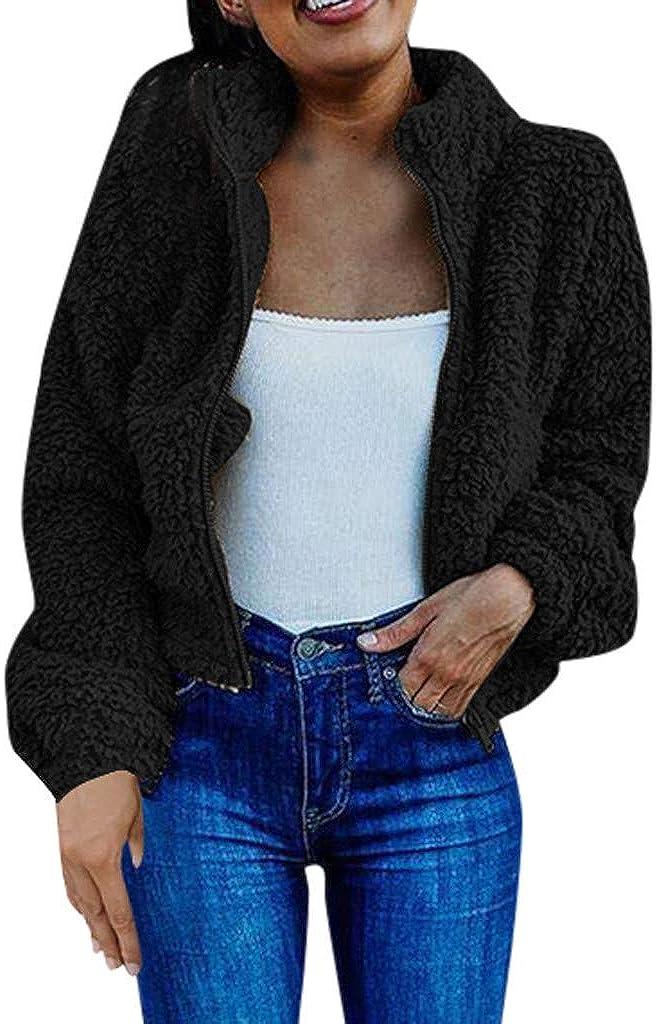 Women's Plush Long Sleeve Lapel Cardigan with Zipper Coat of The Jacket