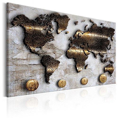 murando Weltkarte Pinnwand & Vlies Leinwand Bild 90x60 cm Bilder mit Kork Rückwand 1 Teilig Kunstdruck Korktafel Korkwand Memoboard Pinboard Wandbilder Karte Landkarte Gold Struktur k-A-0047-p-a