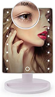 Makeup Mirror10X Magnifier Makeup Mirror with 16 LED Light -Touch Screen Dimming Desktop Vanity Mirror - USB Cable Or Battery Use