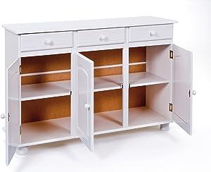 Esidra Credenza Buffet 3 Ante con 3 Cassetti, Legno, Bianco, 130x43x87 cm