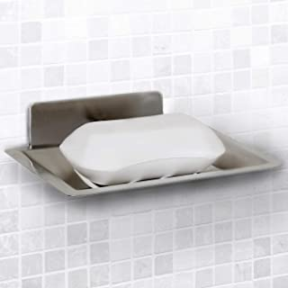 Vila Self-Adhesive Soap Holder - Wall Mounted Shower Dish - Self-draining Sponge, scouring pad Holder for Kitchen or Bathroom - Stainless Steel soap Saver - Installation in Minutes, 3M Tape Included