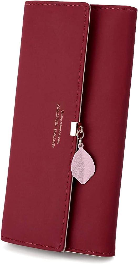 Charltu, portafoglio da donna, porta carte di credito, in pelle sintetica, rosso
