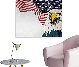 Tudouhoho American Flag The Office Poster American Eagle with Grunge Effect 4th of July USA Country Independence Image Home Decor Wall Multicolor W48 xL32