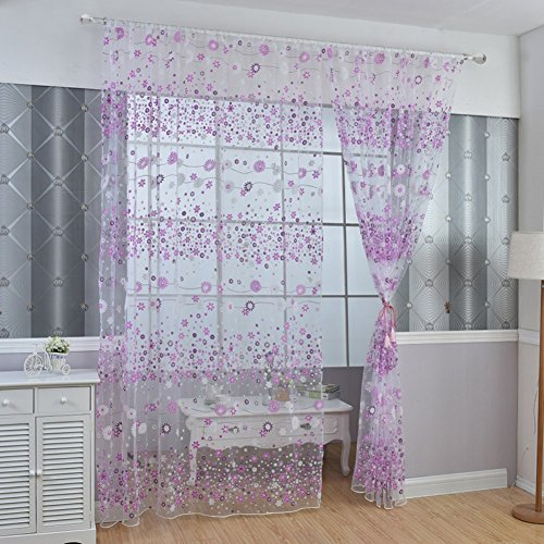 PanDaDa Floral Sheer Voile Curtain Drape Panel Tulle Valances Purple