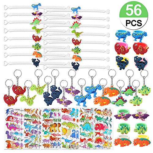 56 Pcs Dinosaur Party Favors Dinosaur Keychains Stickers Rings Bracelets Toys Prizes Gift Carnivals for Kids Boys Birthday Party Favor Goodie Bag Fillers Dinosaur Party Supplies
