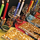 Entertaining with Caspari 10-Inch Taper Dripless, Smokeless, Unscented Candles, Silver, Set of 2