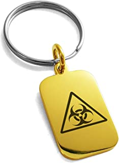 Stainless Steel Biohazard Triangle Symbol Small Rectangle Dog Tag Charm Keychain Keyring