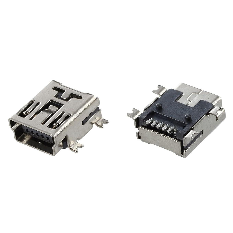 没頭する器具ほとんどの場合SODIAL(R)交換ミニUSBタイプBメス5ピンPCB基板取付ジャック充電コネクタ10個