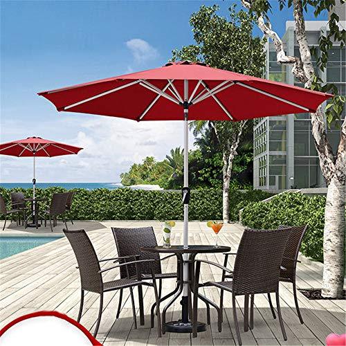 ZJDU Sombrillas De Playa Al Aire Libre, Paraguas De Mesa Al Aire Libre del Paraguas del Patio, Soporte De Acero Al Carbono,Sombrilla De Jardín,con 8 Costillas Resistentes,Rojo