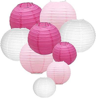 Xiang Ru 9 St/ück Hochtzeit Party Dekoration Papier Lampion Garten Dekoration Laterne Papier Laterne /Ø 10CM Pink