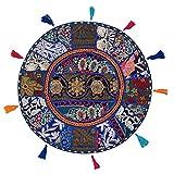 Stylo Culture Decorativo Indio Bohemio Redondo Cojines De Suelo Sofá Cama Patchwork Fundas para Cojines De Sofa Azul Oscuro 45x45 cm Algodón Bordado Vintage Decoración del Hogar Funda De Almohada