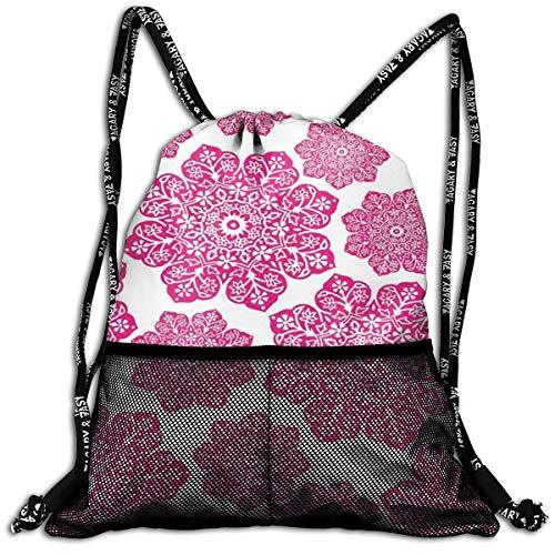 AZXGGV Drawstring Backpack Rucksack Shoulder Bags Gym Bag Sport Bag,Ethnic Batik Floral Arrangement with Eastern Inspired Art Design Batik Pattern