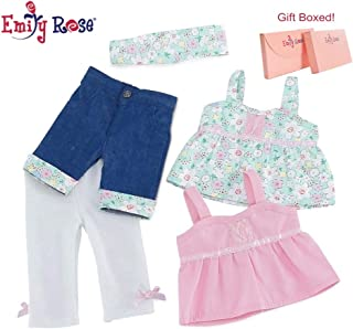18 Inch Doll Clothes   Vintage Mix and Match Outfits, Includes 2 Tank Style Shirts, Cool Jean Shorts with Matching Floral Cuff, Creamy White Leggings and Matching Headband   Fits American Girl Dolls