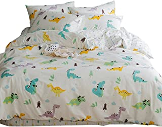 Cartoon Dinosaur Print Duvet Cover Sets for Kids Reversible Home Texitile Bedding Sets 100% Cotton with 1 Comforter Cover 2 Pillow Shams, 3 Pieces Blue Boys Girls Bed Set, Christmas Bedding, Twin
