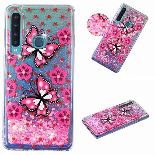 KSHOP Glitter Hoesje voor iPhone SE/5/5S, Roze Vlinder, Samsung Galaxy A9 2018