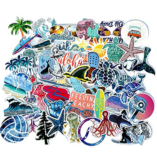 VWORK 50PCS Beach Stickers, Upgrated Water Bottle Stickers, Skateboard Stickers, Computer Stickers