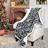 Tirrinia Sherpa Blanket Plush Throw Zebra Pattern Blanket Size 50' x 60' Bedding Fleece Reversible Blanket for Bed and Couch, Super Soft Comfy Warm Fuzzy TV Blanket