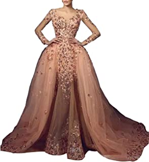 Luxury Skin Pink Appliques Crystals Mermaid Wedding Party Evening Dress Prom Celebrity Gown Detachable Train