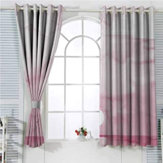 Seagulls Decor Eclipse Blackout Curtains Sunrise by the Beachside with Birds Flying Towards the Horizon Watercolor Style Graphic Patio Door Curtains Living Room Decor W96 x L84 Inch Pink White