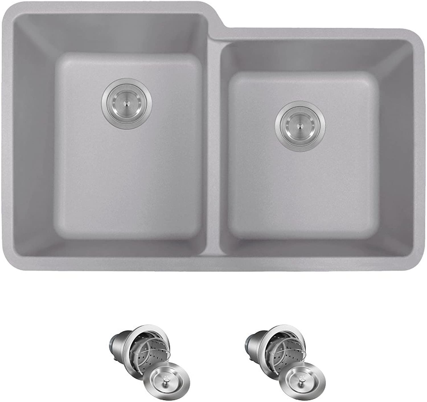 801-Silver TruGranite Kitchen Ensemble with Basket Strainers (Bundle - 3 Items  Sink and 2 Strainers)