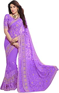 VintFlea Indian Women's Party Wear Chiffon Zari Embroidery Saree with Blouse Piece