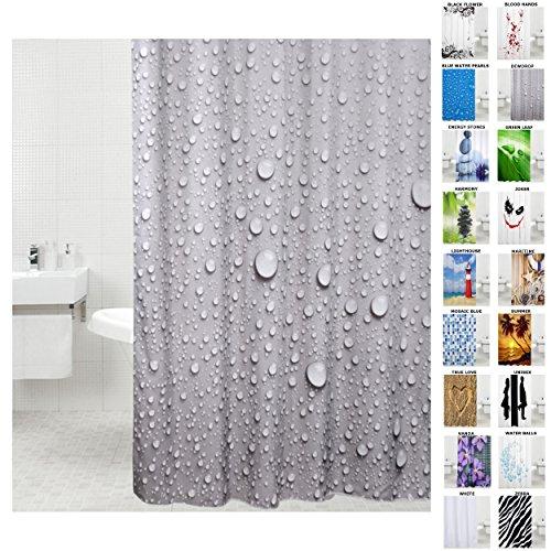 Sanilo Duschvorhang, viele schöne Duschvorhänge zur Auswahl, hochwertige Qualität, inkl. 12 Ringe, wasserdicht, Anti-Schimmel-Effekt (180 x 200 cm, Dewdrop)
