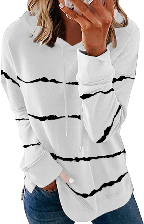 Masbird Womens Cardigan Sweaters, Women's Casual Tunics Shirts Tops Long Sleeve Round Neck Loose Soft Striped Tunics
