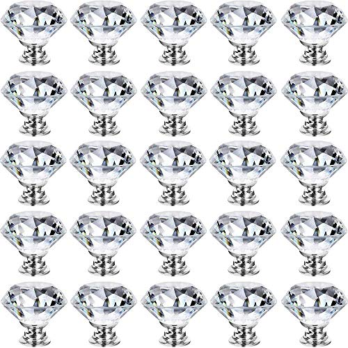 GoodtoU 25 Pack Cabinet Knobs Drawer Crystal Knobs Pulls 30mm Glass Diamond Knobs Handle for Cabinet Kitchen Dresser Drawer