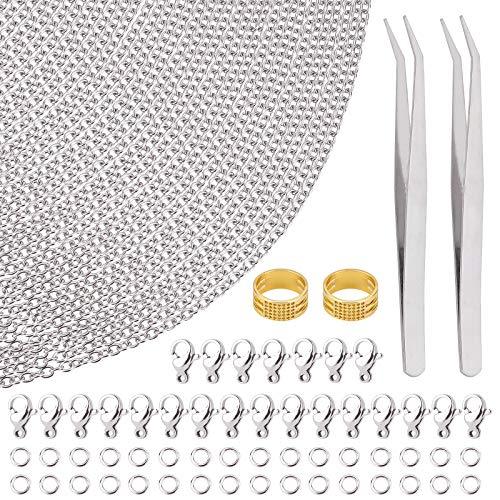 Nbeads, kit di catenine per gioielli, catena in acciaio inox argento con anelli di salto e chiusura a moschettone per riparazione di collane e bracciali fai da te