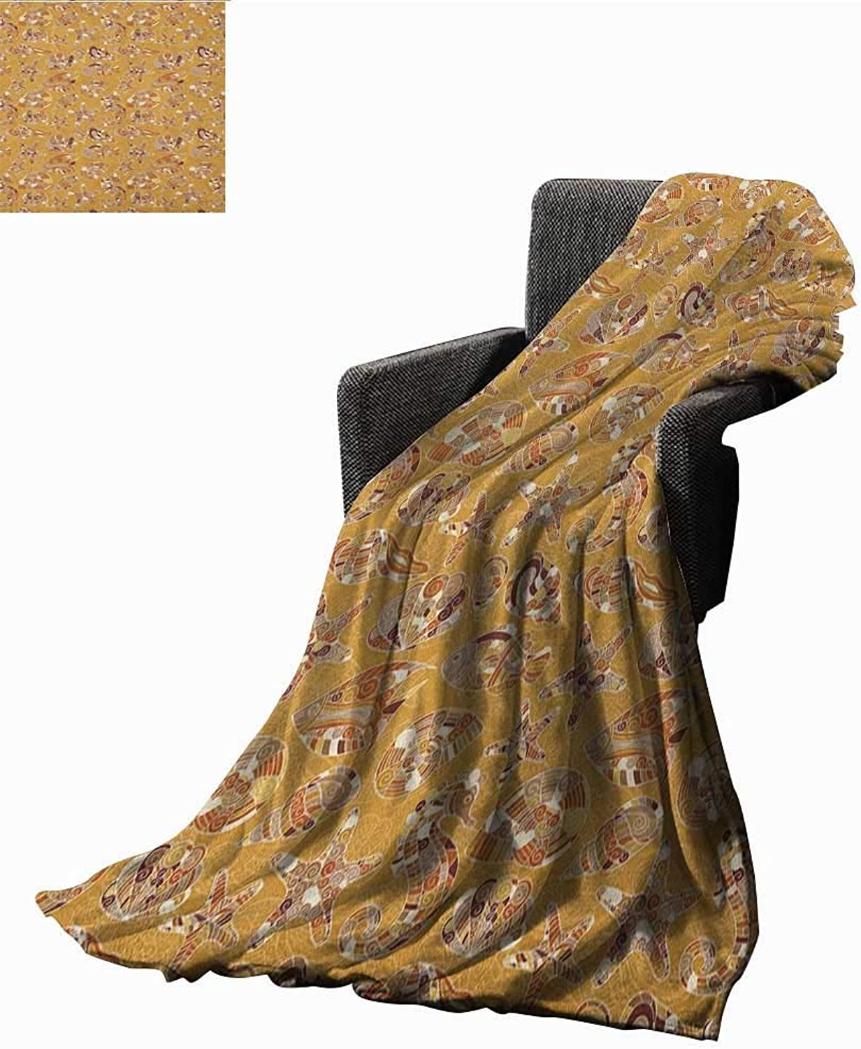 WilliamsDecor Bed or Couch 60  x 35 Ocean Microfiber All Season Blanket Pattern of Fish Shells Starfish Sea Horse Water Creatures Sea Life Illustration Print Summer Quilt Comforter Mustard Brown