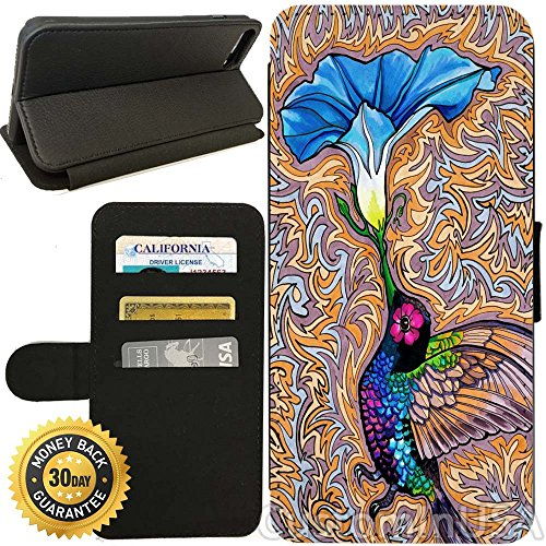 Flip Wallet Case for iPhone 8 Plus (Holy Hummingbird) with Adjustable Stand and 3 Card Holders | Shock Protection | Lightweight | Includes Free Stylus Pen by Innosub