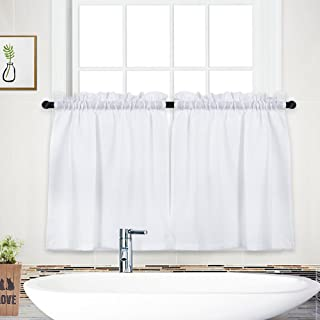 """Best NANAN Tier Curtains,Waffle Weave Textured Short Curtains for Bathroom Waterproof Window Covering Kitchen Cafe Curtains - 30"""" x 36"""", White, Set of 2 Review"""