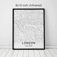 London City Downtown Map Wall Art London Street Map Print London Map Decor City Road Art Black and White City Map Office Wall Hanging 8x10 inch No Frame