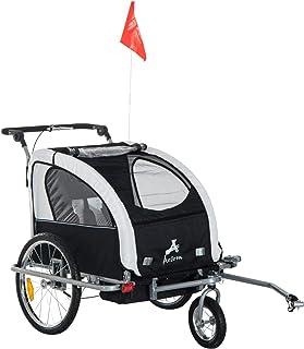 Aosom 2-in-1 Double Child Baby Bike Trailer Stroller & Jogger (Black/White)