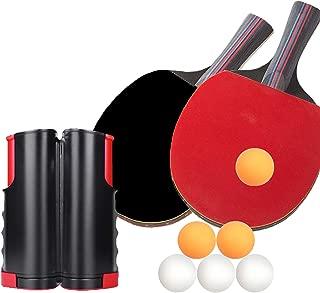 TOKARIGO 卓球ネット セット 卓球 ラケット 卓球台 (ラケット×2本 伸縮ネット ボール×6個) ハンドバッグ き アウトドア レジャー 職場で