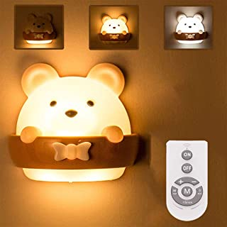 DawnTrees Baby Night Light for Kids,Bear Kids Night Light,Cute Kawaii Bear Light with Remote Control, Timer and Magnetic N...