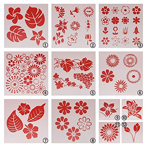 Plantilla reutilizable de flores para pintar, 12 unidades
