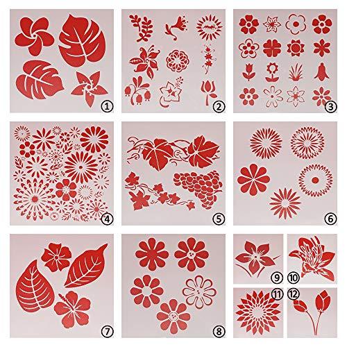 Wiederverwendbare Blumen-Schablone zum Malen, 12 Stück