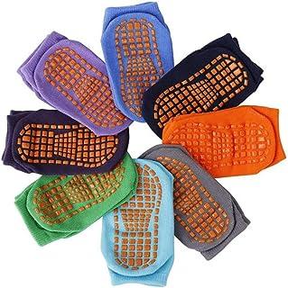 Copiel, Niñito Tobillo Calcetines, 8 pares de calcetines antideslizantes para niños, puños de algodón Calcetines cálidos de corte bajo antideslizantes con silicona para bebés de 1 a 3 años