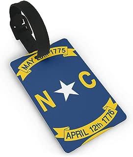 SCcdyhlunsd North Carolina Flag Luggage Tag Initial Bag Tag Etag Holders PVC Size 2.2