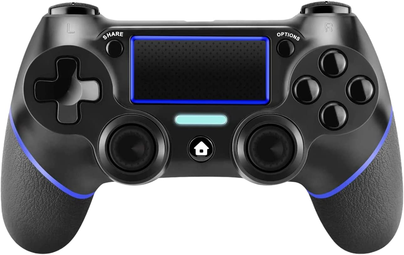 PS4 Controller, PS4 Wireless Controller/Pro/Slim with Dual vibration/6-axis Gyroscope Sensor (Blue bar)