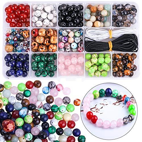 Candygirl - Perla natural multicolor con piedras semipreciosas y cuentas redondas para joyas con pulsera de cristal y hilo para fabricación de joyas artesanales