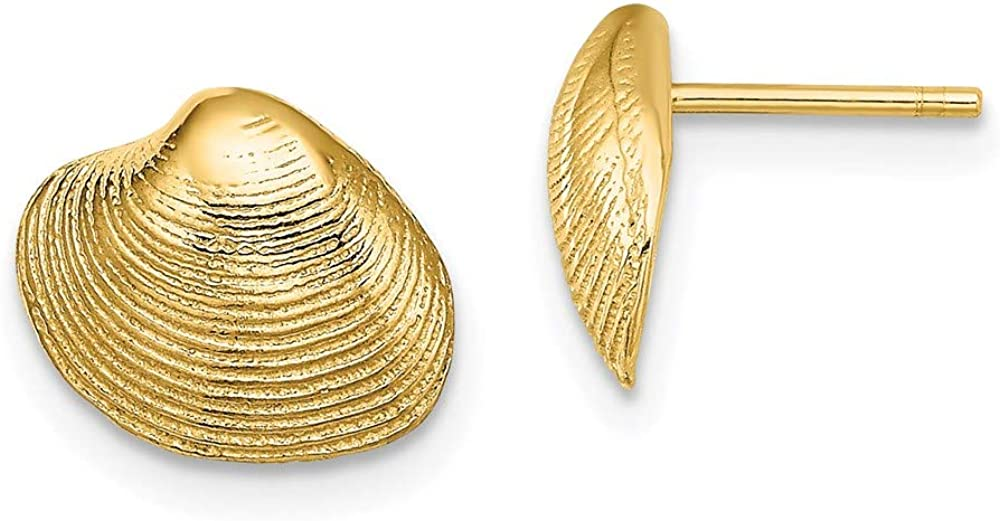Albuquerque Mall 10k Yellow Gold Year-end annual account Clam Earrings Shell Post