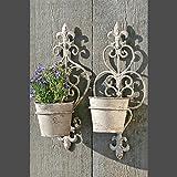 DESIGN DELIGHTS Wand KÖRBE BLUMENTOPF Halter 2er Set Pflanzgefäß Gartendeko Metall mit antik Optik Finishing