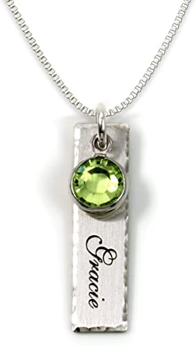 Exquisite Single Edge-Hammered Personalized Charm Necklace - Unique Gift Ideas For 17 Year Old Female Teenage Girl