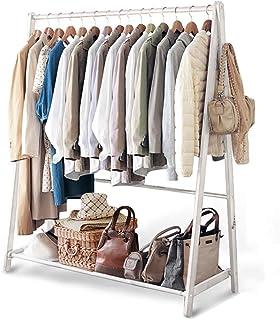 Porte manteau Portemanteau en bois massif, Séchoir balcon Cintre de chambre Présentoir de magasin de vêtements Au sol Étag...
